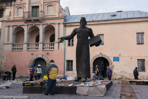 Book Market in Lviv by the Ivan Fedorov statue
