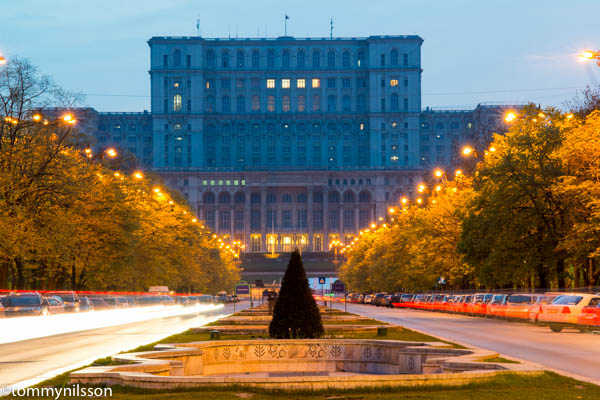 The White Palace - Parliament in the evening. Bucharest