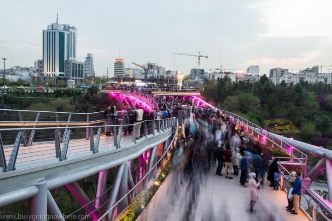 Life on the Tabiat bridge at dusk
