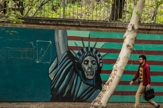 The infamous wall of the former US embassy in Tehran
