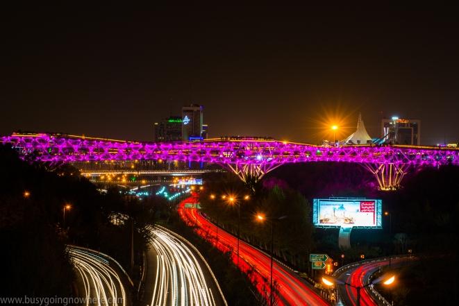 The Tabiat bridge at night