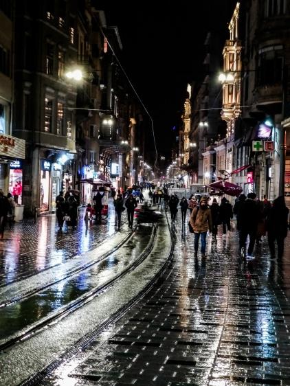 Istiklal Cd., Istanbul in the rain